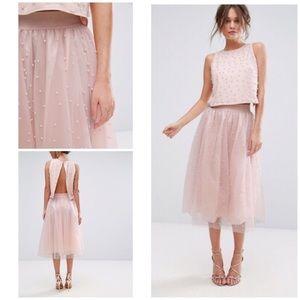 Little Mistress Pearl Embellished Tulle Midi Skirt